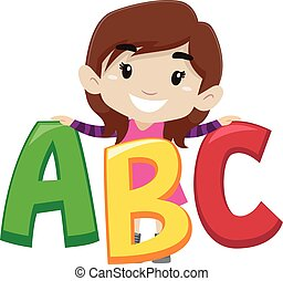 Illustration of kid holding ABC - Illustration of kid Girl...