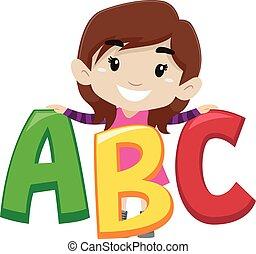 Illustration of kid holding ABC - Illustration of kid Girl...