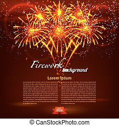 Bright colorful fireworks on a red