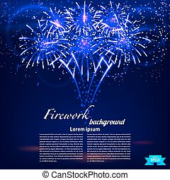 Bright colorful fireworks on a blue