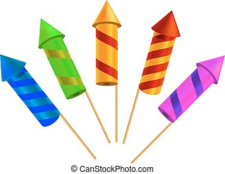 Set of bright festive crackers on a white background Vector...