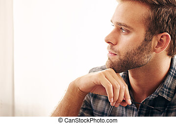 Close up image of young adult businessman