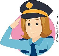 Policewoman Saluting