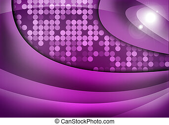 Abstract purple background with light spots and waves