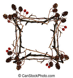 Frame made from dry twigs with berries and cones isolated on...