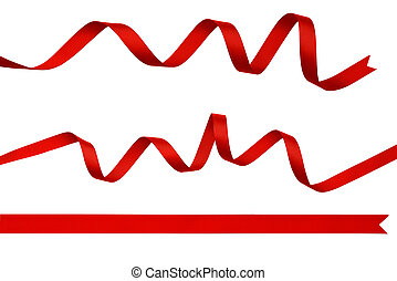 Set of red silk ribbons isolated on white.