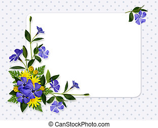 Periwinkle and daisy flowers decoration and a card on blue...