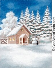 House and Snowman in Winter Forest - Christmas Illustration,...