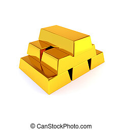 Shiny gold ingots on a white background. Business success concept. 3D illustration, render.