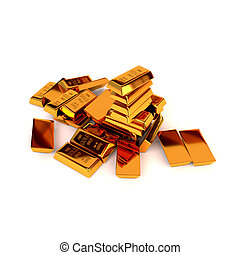 Gold bars on a white background. The concept of business success. 3D illustration. Render.