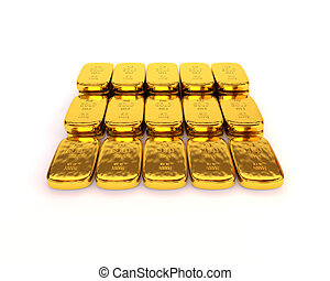 Shiny gold ingots of the highest standard on a white background. 3D illustration