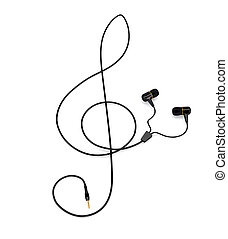 The music concept headphones with a cable in the form of a treble clef isolated on white background. 3d illustration.