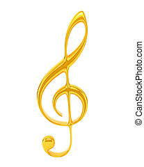 Golden treble clef isolated on white background. Musical Symbol. 3d illustration.