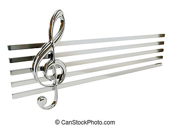 Steel treble clef and the stave, isolated on a white background. Musical Symbol. 3d illustration.