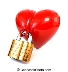 Red heart with padlock isolated on white background. 3d illustration.