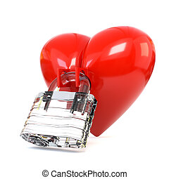 Red heart with crystal padlock isolated on white background. 3d illustration.