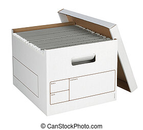 Bankers Box with files isolated