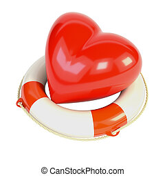 Red heart and a life buoy, isolated on white background. 3d...