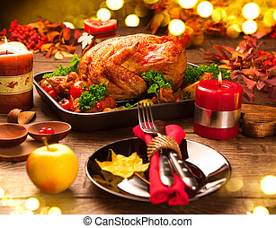 Christmas Dinner Roasted turkey garnished with potato,...