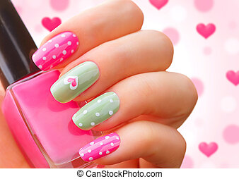 Valentines Day holiday style bright manicure