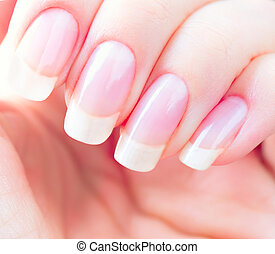 Beautiful healthy natural nails closeup