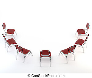 Set of red chairs, isolated on white background. The concept of business meeting. 3d illustration.