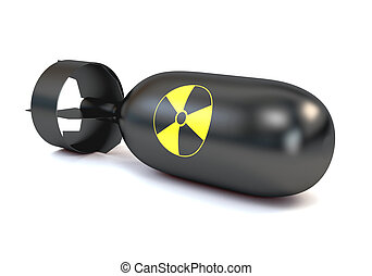 The atomic bomb with a round icon radiation, isolated on a...
