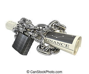 Newspaper fettered chain and padlock, isolated on white...