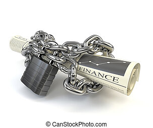 Newspaper fettered chain and padlock isolated on white...