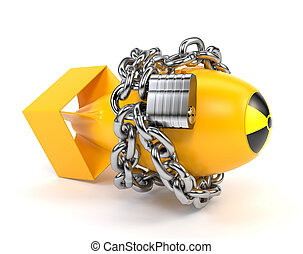 Yellow atomic bomb with icon radiation, isolated on a white...