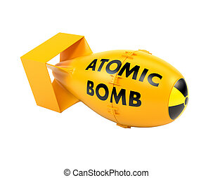 Yellow atomic bomb isolated on a white background 3d...