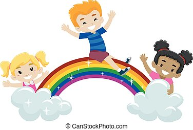 Kids playing at top of the rainbow