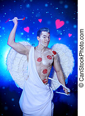 destiny - Male angel Cupid with a bow and arrows of love....