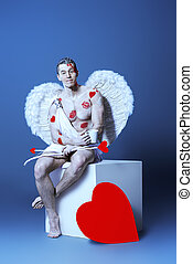 hard work - Male angel Cupid with a bow and arrows of love...