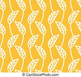 Wheat seamless pattern Yellow spikelets ornament Rye texture...
