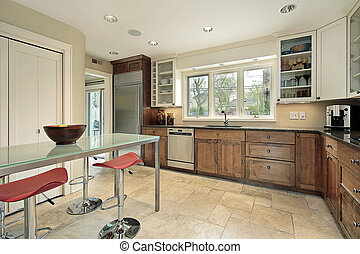 Kitchen with rectangular glass table