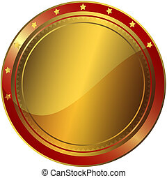 Golden And Red Award - Golden and red circle award with gold...