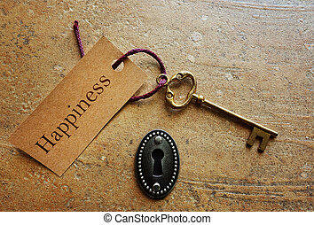Key to Happiness - Lock with gold key and Happiness tag...