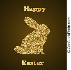 Easter card with rabbit - Decorative Easter card with rabbit...