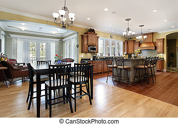 Kitchen with sitting room - Kitchen in luxury home with...