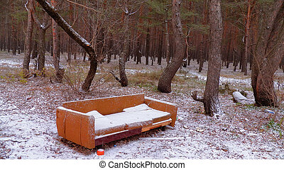 Sofa in the forest. Under the snow. Fun