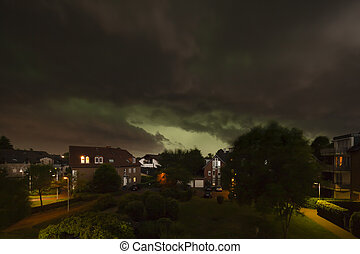 Thunderstorm Over Residential Area - Dark as the night...