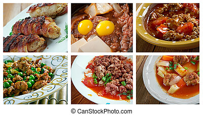set of different minced beef - Food set of different minced...