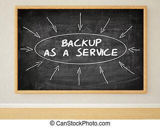 Backup as a Service - 3d render illustration of text on...