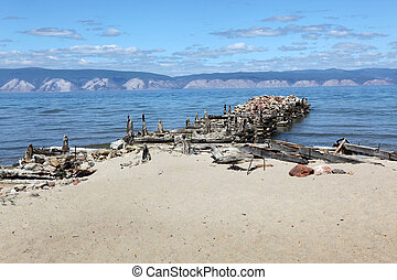 The coast at Lake Baikal, Olkhon island, , Russia
