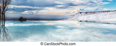 Natural travertine pools and terraces at Pamukkale ,Turkey....