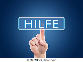 Hilfe - german word for help - hand pressing button on...
