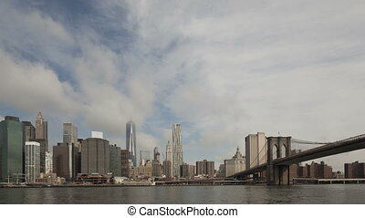 4K Time lapse Manhattan skyline with World Trade Center at...