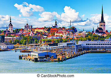 Tallinn, Estonia - Scenic summer view of the Old Town...