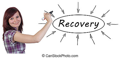 Recovery - young businesswoman drawing information concept...